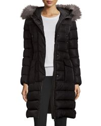 Moncler | Black Khloe Quilted Puffer Coat W/ Fur Hood | Lyst