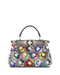 Fendi | Blue Peekaboo Mini Floral Beaded Satchel Bag | Lyst