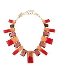 Oscar de la Renta | Red Two-tone Resin & Crystal Bib Necklace | Lyst