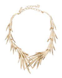 Oscar de la Renta - Metallic Palm Leaf Neck - Lyst