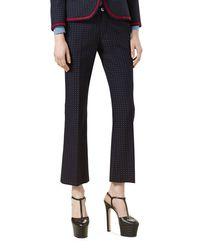 Gucci | Blue Polka-dot Cotton Wool Ankle Pants | Lyst