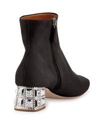Miu Miu - Black Suede Jewel-heel Ankle Boot - Lyst