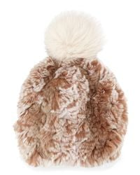 GP Luxe - Black Knitted Fur Pom-pom Hat - Lyst
