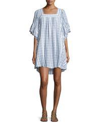 Calypso St. Barth - Blue Batolu Square-neck Striped Dress - Lyst