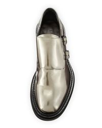 Lanvin | Gray Metallic-Leather Monk Shoes for Men | Lyst