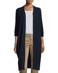 Vince - Blue Cashmere 3/4-sleeve Long Cardigan - Lyst