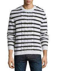 Moncler | Multicolor Cable-knit Striped Long-sleeve Sweater for Men | Lyst