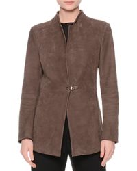 Giorgio Armani | Brown Suede One-closure Jacket | Lyst