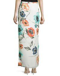 Haute Hippie - Multicolor Floral-print Column Maxi Skirt - Lyst