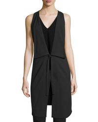 Halston | Black Draped Deep V-neck Tie-front Vest | Lyst