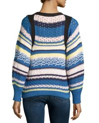 See By Chloé - Pink Jewel-neck Striped Sweater - Lyst