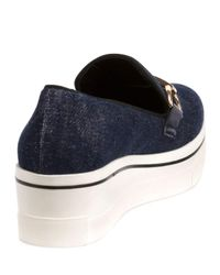 Stella McCartney - Blue Binx Denim Buckle Loafer - Lyst