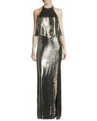 Halston | Green Metallic Jersey Halter Popover Gown | Lyst