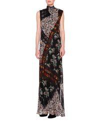 Etro | Black Floral Plaid Tie-neck Scoop-back Gown | Lyst