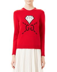 Gucci Red Ghost Gg Diamond Knit Top