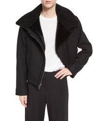 VINCE | Black Shearling Fur-lined Moto Jacket | Lyst