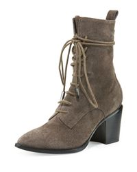 Sigerson Morrison - Brown Duran Lace-up Block-heel Boot - Lyst