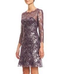 Carolina Herrera - Red 3/4-sleeve Metallic Lace-print Cocktail Dress - Lyst