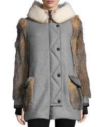 Moncler - Black Wool-blend Coat W/mixed Fur Trim - Lyst