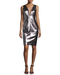 MILLY | Multicolor Callie Metallic Leather Sheath Dress | Lyst