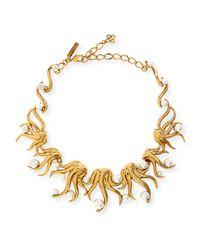 Oscar de la Renta - Metallic Bold Multi-crystal Statement Necklace - Lyst