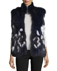 Adrienne Landau | Blue Open-front Fox Fur Vest | Lyst