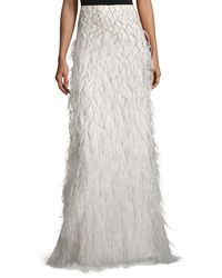 Alice + Olivia - Multicolor Webbed Feather Maxi Skirt - Lyst