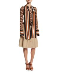 Michael Kors - Natural Pleated Button-front Belted Skirt - Lyst