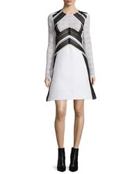 Burberry Prorsum - White Long-sleeve Two-tone Fit-&-flare Dress - Lyst