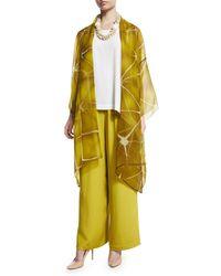 Eskandar - Yellow Flare-leg Silk Crepe Trousers - Lyst