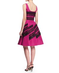 Oscar de la Renta - Multicolor Sleeveless Embellished-lace Dress - Lyst