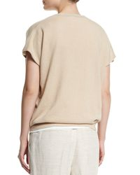 Brunello Cucinelli - Natural Short-sleeve Boyfriend Cashmere Pullover Top - Lyst