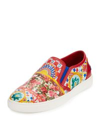 Dolce & Gabbana | Red Carretto-print Leather Skate Sneaker | Lyst
