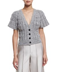 Co. - Gray Flare-sleeve Button-front Short Cardigan - Lyst