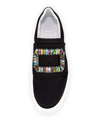 Roger Vivier - Black Sneaky Viv Crystal-Embellished Satin Sneaker - Lyst