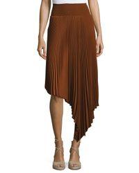 A.L.C. | Brown Sofia Asymmetric Pleated Midi Skirt | Lyst