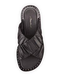3.1 Phillip Lim | Black Nagano Ruched Leather Flat Slide Sandal | Lyst