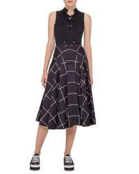 Akris Punto | Black Pleated Windowpane Midi Skirt | Lyst