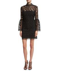 Rachel Gilbert | Black Crocheted Lace Mock-neck Cocktail Dress | Lyst