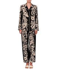 Valentino | Black Tropical Dream Silk Pajama Blouse | Lyst