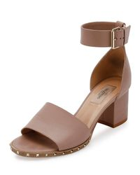 Valentino | Brown Soul Rockstud 65mm City Sandal | Lyst