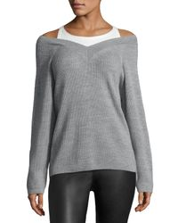 T By Alexander Wang | Black Merino V-neck Sweater W/ Tank | Lyst