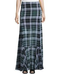 McQ | Green Flared Fluid Plaid Silk Maxi Skirt | Lyst