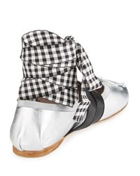 Miu Miu - Metallic Belted Ankle-wrap Ballerina Flat - Lyst