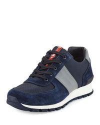 Prada   Blue Suede & Leather Trainer Sneaker for Men   Lyst