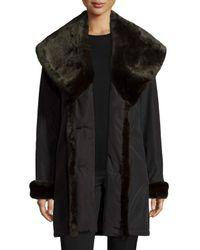 Jane Post | Black Faux-fur-trim Double-breasted Coat | Lyst