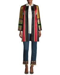 Etro - Red Pleated-bib Silk Shirt With Scarf - Lyst