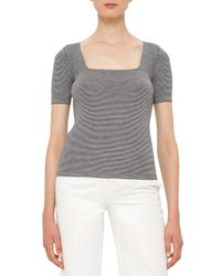 Akris Punto | Blue Micro-stripe Cool Wool Short-sleeve Top | Lyst