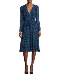 Derek Lam | Blue Long-sleeve Python-print Silk Dress | Lyst