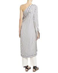 Monse | Multicolor Striped Silk Twill One-shoulder Dress | Lyst